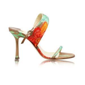 JIMMY CHOO | Floral Tropical Ankle Sandal Heel 38